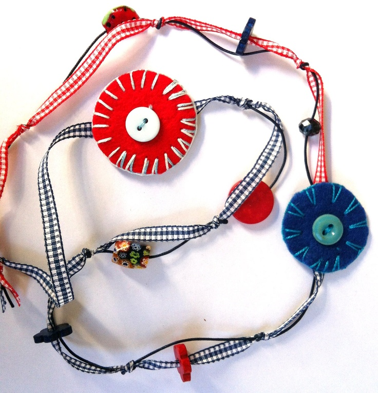 Red and blue necklace with felted handmade circles  (made to order). $20.00, via Etsy.
