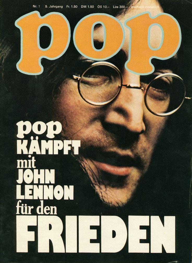 """«Cover der Zeitschrift """"pop"""", John Lennon» Zu sehen in der Ausstellung «Oh Yeah! Popmusik in der Schweiz» im Museum für Kommunikation. Eine Reise durch das Abenteuer Schweizer Popmusik von den 1950ern bis heute."""