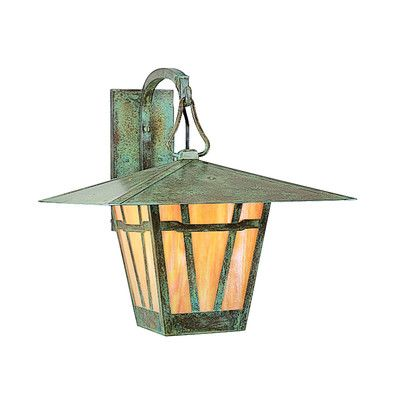 """Arroyo Craftsman Westmoreland 1-Light Outdoor Wall Lantern Size: 13"""" H x 12"""" W x 15.5"""" D, Finish: Satin Black, Shade Type: Frosted"""