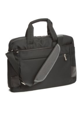Saddlebred® Black Nylon Laptop Briefcase. Perfect for the man on the go, this briefcase offers a sleek silhouette that doesn't sacrifice style for business needs.