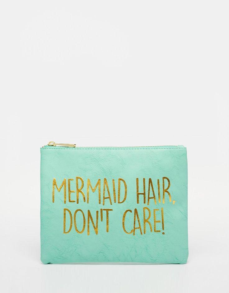 Image 1 ofASOS Mermaid Slogan Make Up Bag