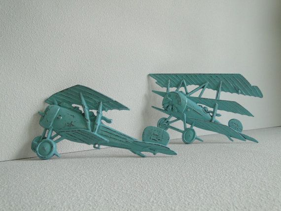 Vintage metal Airplanes by TRWpainted: Vintage Airplane, Metals Airplane, Vintage Metal, Shelf Decorations