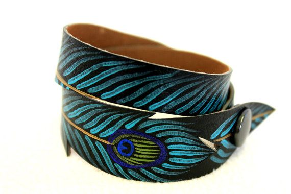 Turquoise Peacock Bracelet, Double Wrap, Black Faux Leather, Peacock Bracelet, Hand Painted, Gifts for Her