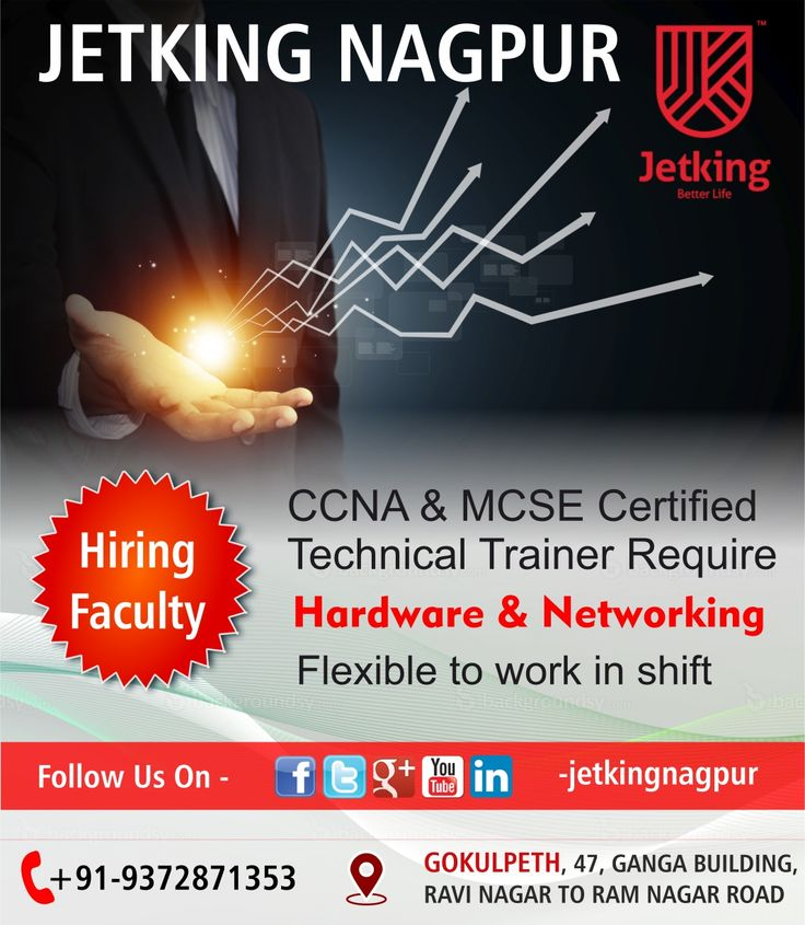 We are hiring #TechnicalTrainer Candidate must have #CCNA and #MCSE certification with mini 1year of exp in Teaching field. Interested candidates must contact on given number - 9372871353 We are located at #Gokulpeth,Ganga Building,1st floor, Ravi Nagar to Ram nagar Road,Nagpur