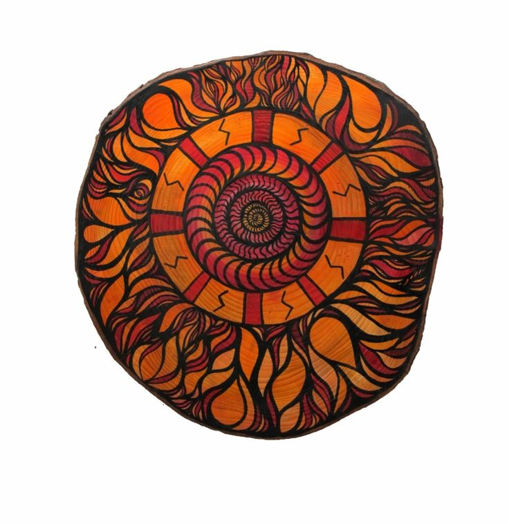 Ołdak Izabela, Shield with power of Sowilo, 38x36cm, ecoline, acrylic on wood, 2013