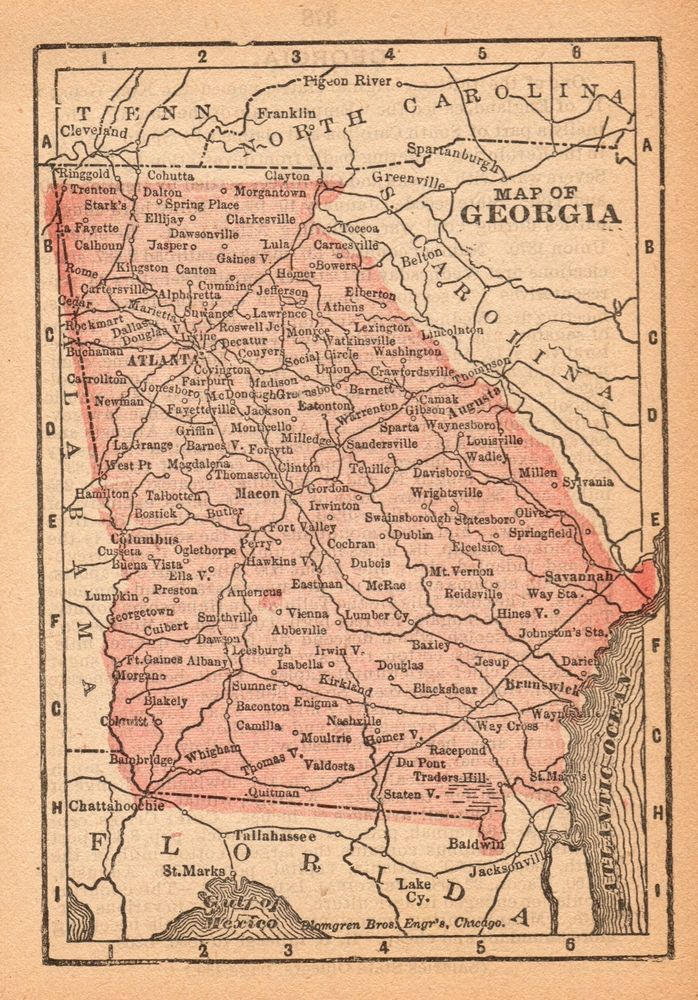 Rare Antique Georgia State Map 1888 Rare Miniature Vintage Map Of