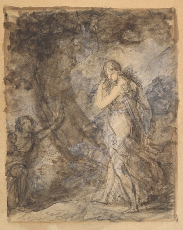 Baron François Gérard (French, 1770–1837). Daphnis Running toward Chloe, ca. 1798. Black chalk, brush with brown and gray wash, heightened with white gouache, on light tan wove paper; Sheet: 10 13/16 x 8 15/16 in. (27.5 x 22.7 cm). The Metropolitan Museum of Art, New York, Purchase, Guy Wildenstein Gift, 2012 (2012.234)