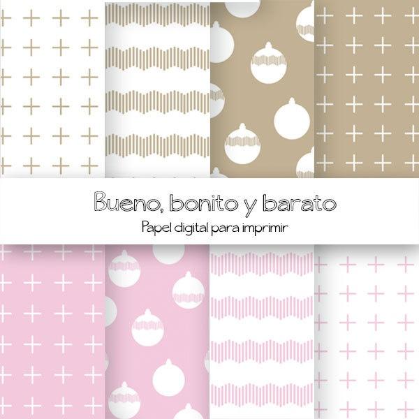 Pink and beige christmas paper / Papel para imprimir/ Digital paper PRINTABLES. €3,00, via Etsy.