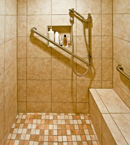 Bathroom Remodeling - Aging in Place Seniors, Grab bar, bench in shower