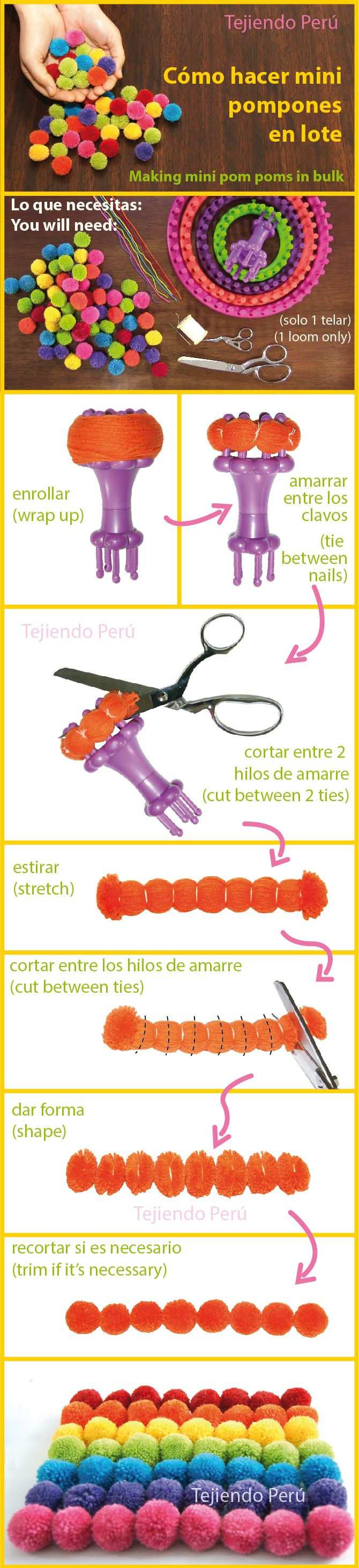 Cómo hacer mini pompones de lana en lote!  Making mini pom-poms in bulk! Encontramos un uso diferente para los telares redondos Aquí pueden ver el mini video tutorial: youtu.be/TwyGc67MZfk This video includes English subtitles