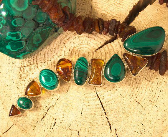 Amber Malachite Pendant / Malechite Silver Jewellery  Natural