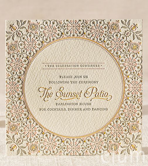 Letterpress wedding invitation, Elum, Darjeeling, reception card, yellow, pink, gray, whimsical wedding, ethereal wedding, bohemian wedding, romantic wedding, Indian wedding
