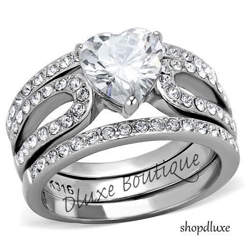 315 Ct Heart Shape CZ Wedding Engagement Ring 3 Piece Set Womens Size 5