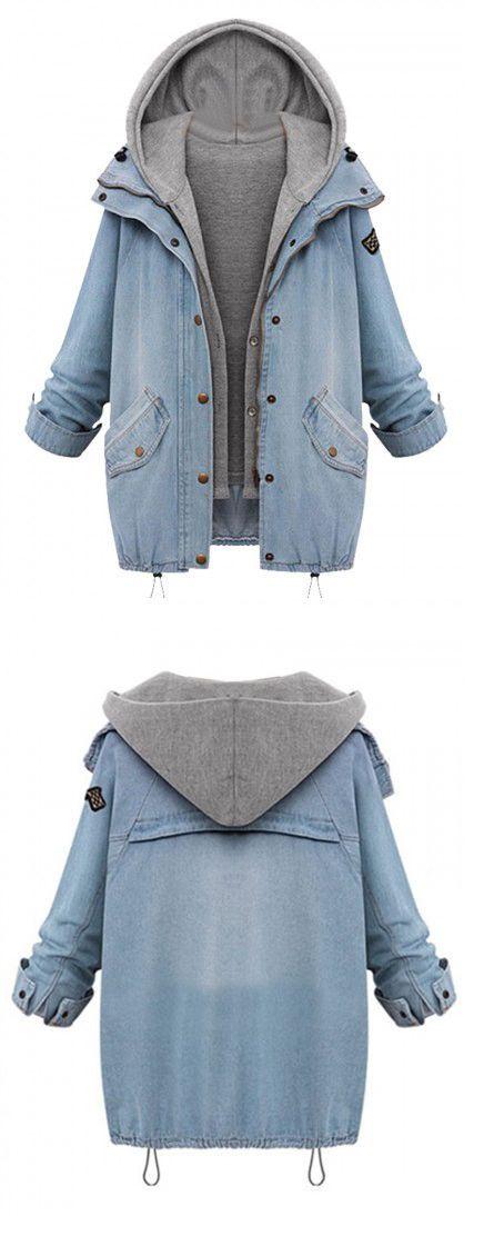DETAILS: COLLAR:Hooded COLOR:Blue DETAIL:Zipper TYPES:Denim coats This Blue…