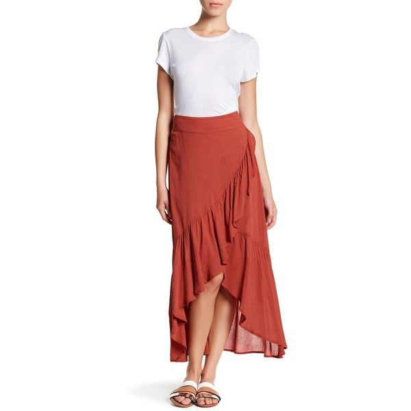 Wild Pearl Ruffle Maxi Skirt ($29) ❤ liked on Polyvore featuring skirts, rust bossa nova, high low skirt, hi low maxi skirt, high low maxi skirt, hi low skirt and elastic waist skirt