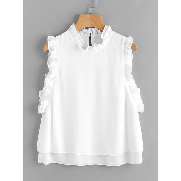 Frill Trim Buttoned Keyhole Layered Shell Top ($16) ❤ liked on Polyvore featuring tops, white frill top, white flounce top, keyhole top, layered tops and button top