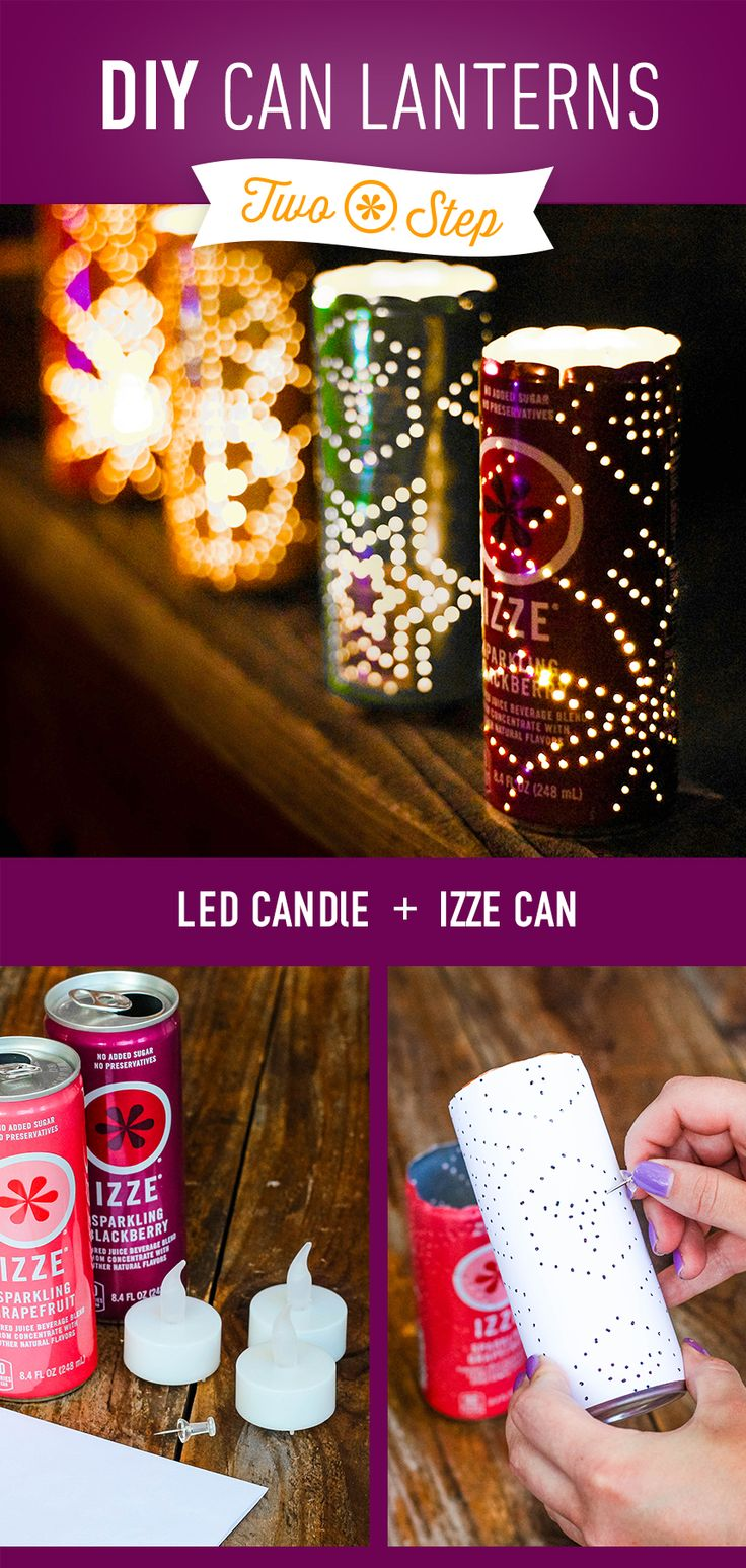 IZZE Two-Step #15—Empty IZZE Cans + LED Candles = The prettiest way to light up…