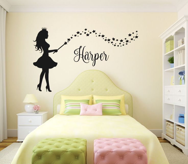 Fairy with Wand and Stars Silhouette with Optional Custom Monogram Name Vinyl Wall Words Decal Sticker Graphic