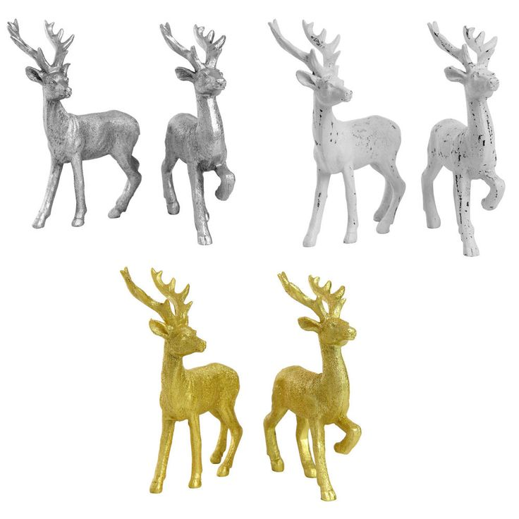 Christmas Ornaments Stag Reindeer Glitter Finish 14cm Set of 2  #TheChristmasBoutique