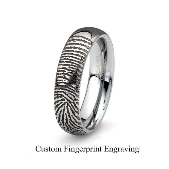 Elegant Finger print tungsten wedding band Comfort Fit Men us Sizes Made In the USA Free