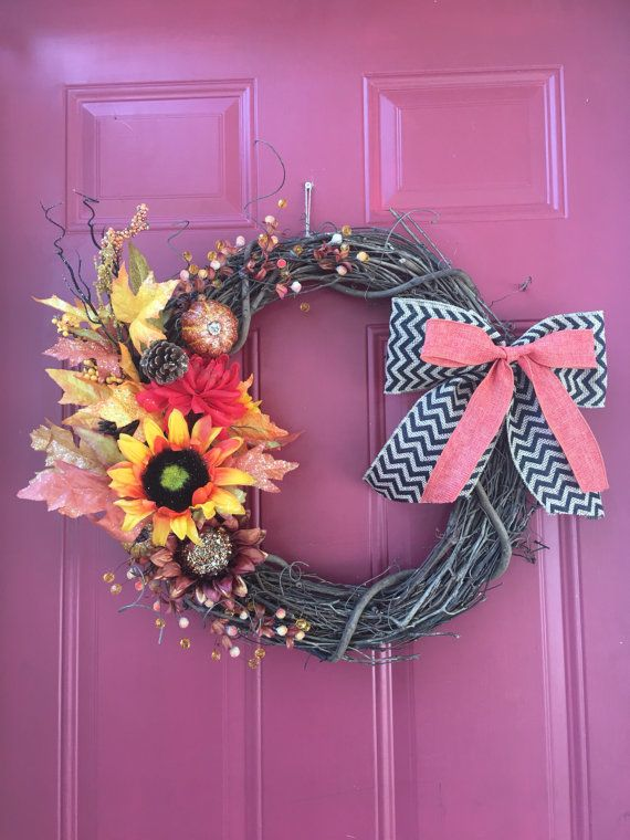 Fall wreath fall floral wreath fall grapevine by 574DoorDecor