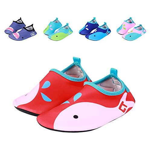 Breathable Anti-slip Barefoot Quick-Dry Girl Boy Kids Water Sports Shoes Skin Cartoon Aqua Socks for Swim Beach Pool Surf Yoga  UPPER: Quick-dry upper made of PONLED E-ROMA Fabric,which have super strong elasticity performance, fitting the foot perfectly, Breathable fabric could absorb sweat.  SOLE: Wear resistant and anti-slip creative microprojectile rubber sole, design as per beehive, perfect to protecting your feet from cut, puncture, and slipping over. LIGHTWEIGHT & EASY-CARRY-360...