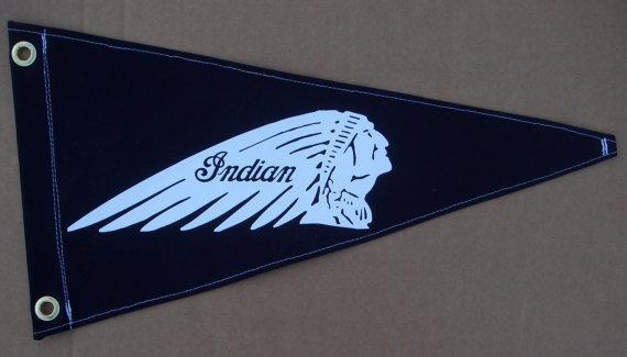 Indian Motorcycle Pennant Flag Handmade Vintage By