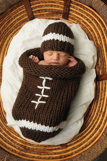 Knitting pattern for Football baby cocoon and hat - For the young sports fan! Hat comes in two sizes: newborn/preemie and 0-6 months.You can knit in the round or knit flat and seam.