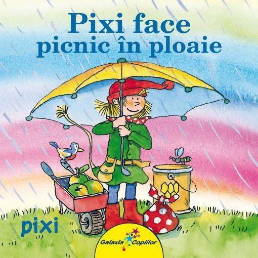 Pixi face picnic in ploaie- Julia Boehme, Dorothea Tust; Varsta: 2-5 ani Pixi și prietenii lui se pregătesc pentru o zi de picnic. După ce și-au pregătit cele necesare, se pornesc la drum în căutarea locației perfecte. Nici măcar ploaia nu le poate strica planurile!