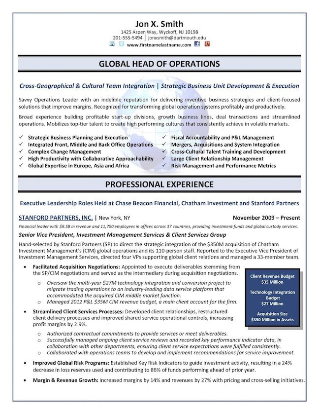 Chief Operations Officer (COO) - Global Operations Director Resume Example