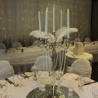 Silver plated #candelabras, #lace overlays, feathers, pearls