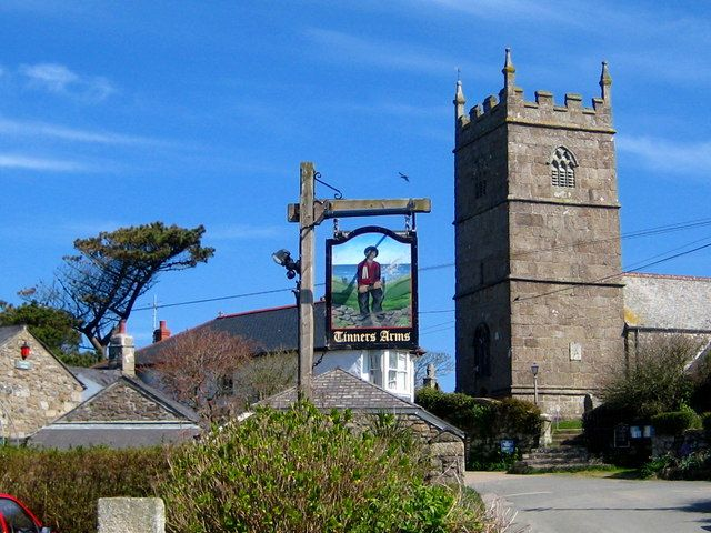 File:The pine, the pub sign and the church - Zennor, Cornwall, England