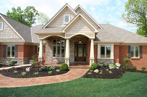 Ranch home siding ideas residential designs house plans Brick craftsman house