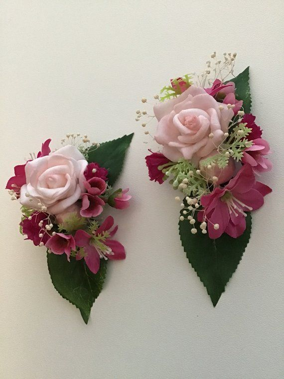 Mini Pink Clipssilk Flower Clipstwo Small Rose Flower Slidestwin