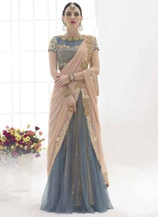 Peach and Grey embroidery work net lehenga saree http://www.angelnx.com/Sarees/Lehenga-Sarees