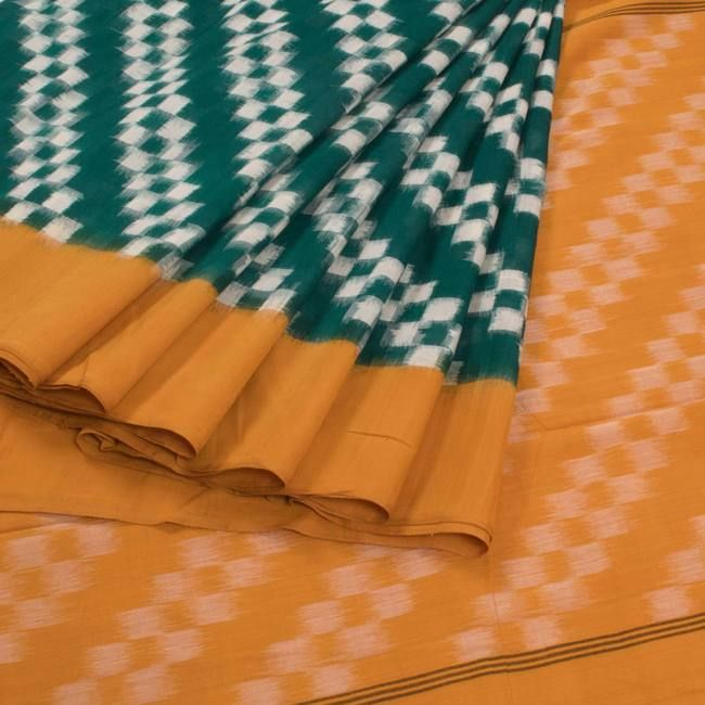 Buy online Handwoven Green Ikat Cotton Saree With Diagonal Check Box Design 10008218