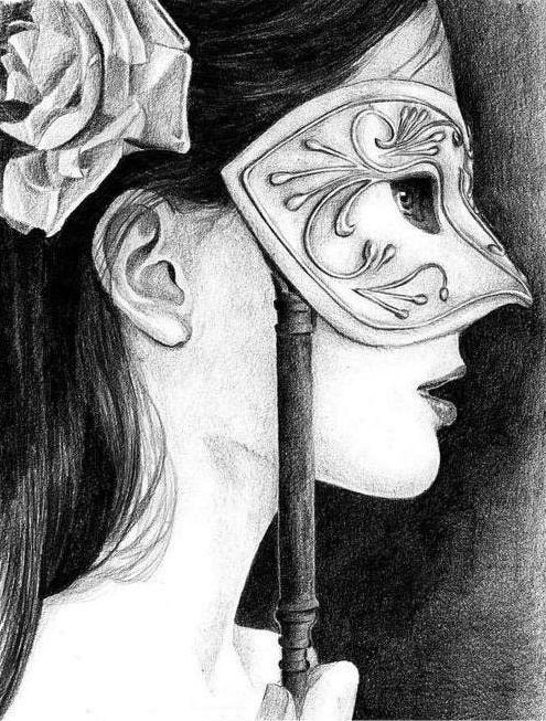 Woman face side view profile drawing (eye masked woman face drawing)