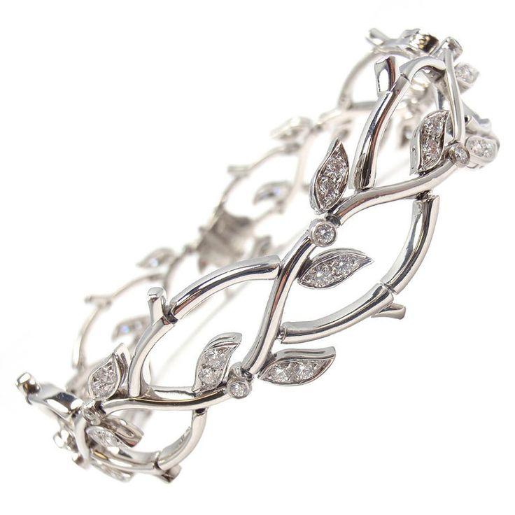 TIFFANY & CO. Diamond Platinum Bracelet 'Garland Collection' | 1stdibs.com