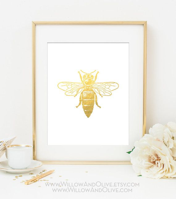 Bumble Bee Faux Gold Foil Art Print - White  Gold - Gold Office Decor  - Imitation Gold Leaf - Girl Room Decor, Home Office Wall Art