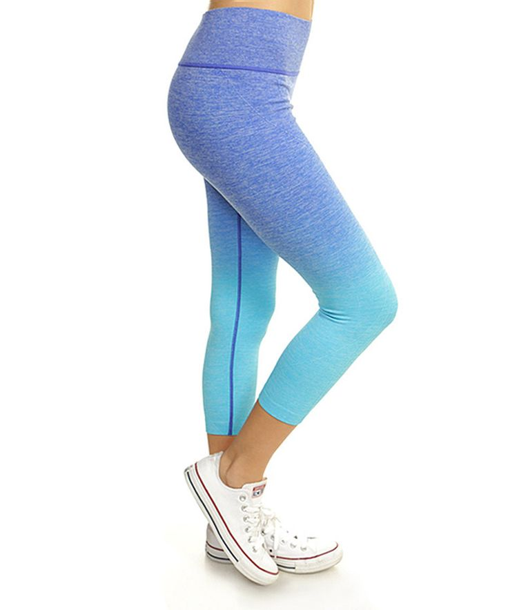 Sky Blue Ombré Active Capri Leggings by Mio Mio #zulily #zulilyfinds