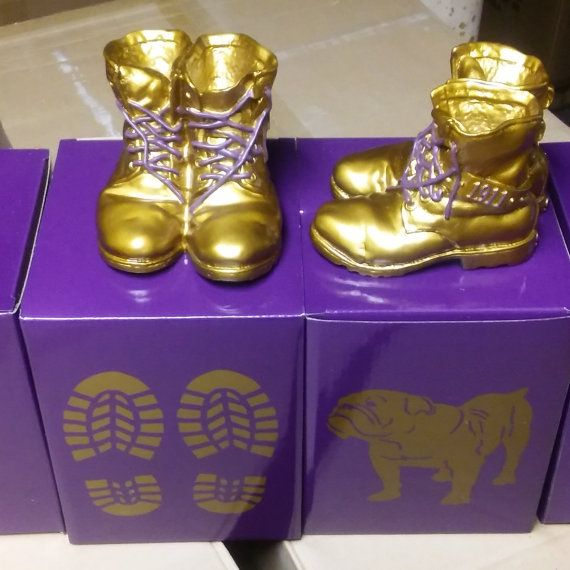 Omega Psi Phi Mini Desktop Gold Boots  Each Box Contains One