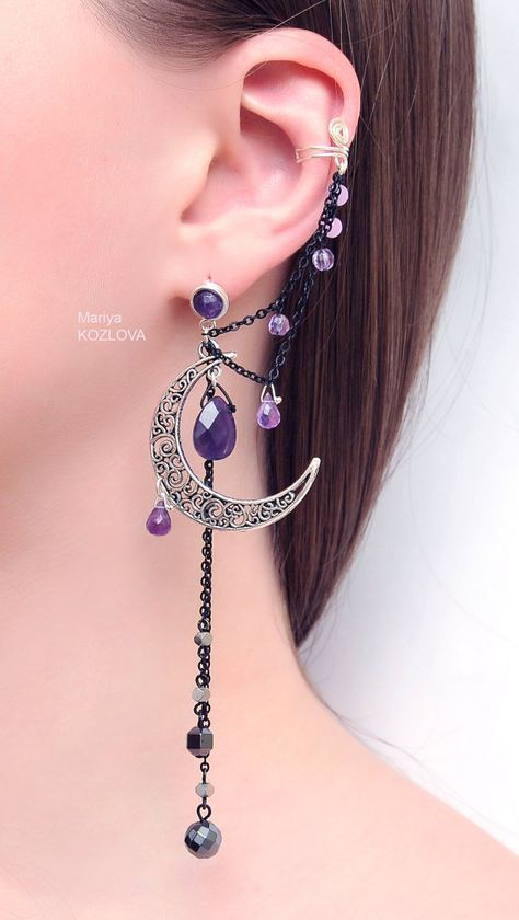 Silver Purple Lilac Night Ear Cuff with Fairy Amethyst Stars and Scroll Moon / curl open work Moon / ear fake faux piercing / ear clip ear clip