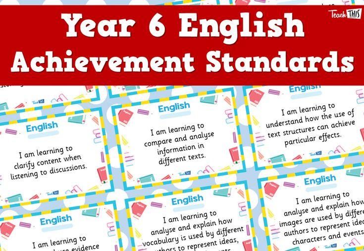 English Achievement Standards - Yr6