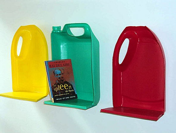upcycled plastic bottle shelves - add cardboard or sheet metal underneath strenghten and voila!
