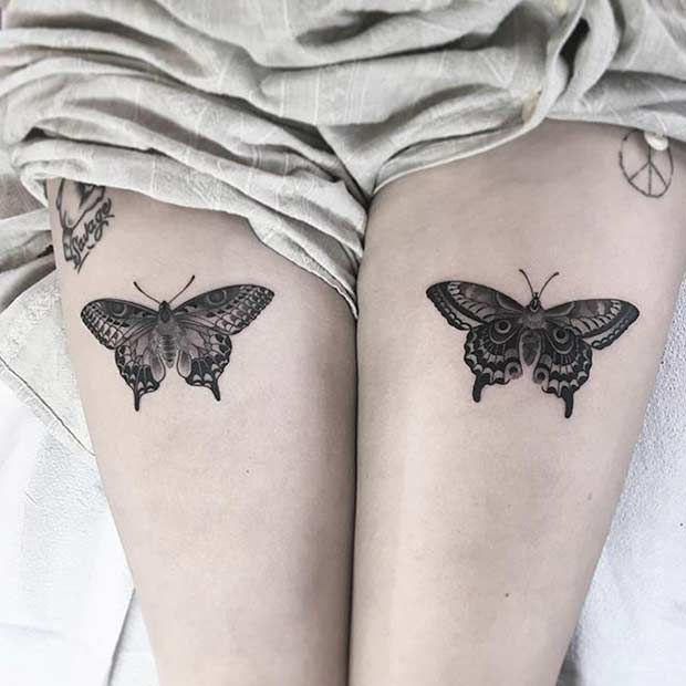 25 badass thigh tattoo ideas for women schmetterlinge tattoo ideen und ideen. Black Bedroom Furniture Sets. Home Design Ideas