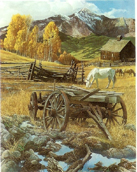 Farm Scene with Wagon and Horses