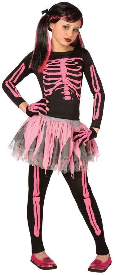 tween/teen girl's costume: skeleton punk, pink