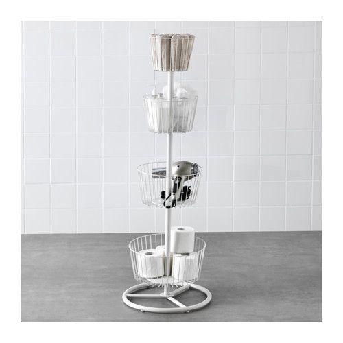 "$29.99. not online. no wheels. 47 5/8""H. Each basket is 5.75""H. largest diameter at 13"". SPRUTT 4-tier storage tower  - IKEA"