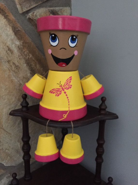 Dragonfly Flower Pot People by ShadyPenguins on Etsy