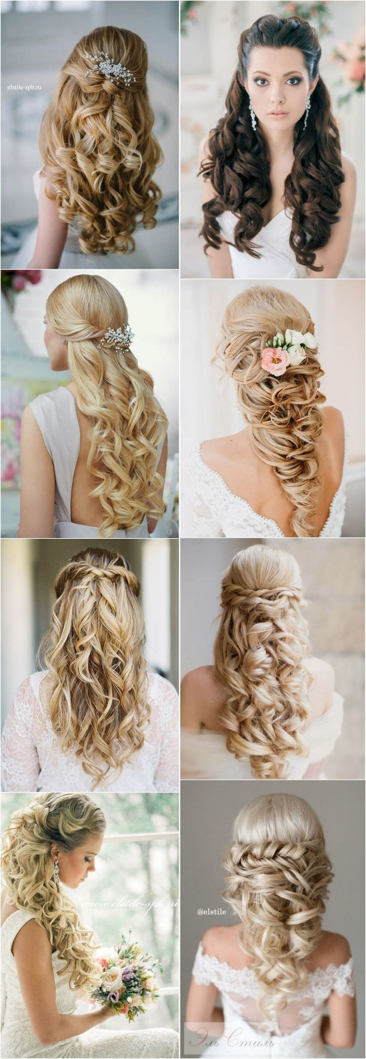 Peinado-stunning-half-up-half-down-wedding-hairstyles-with-tutorial/40 Stunning Half Up Half Down Wedding Hairstyles with Tutorial / http://www.deerpearlflowers.com/15-stunning-half-up-half-down-wedding-hairstyles-with-tutorial/